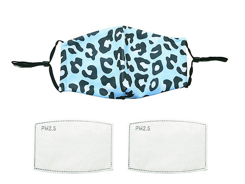 Blue Leopard print face mask with filters