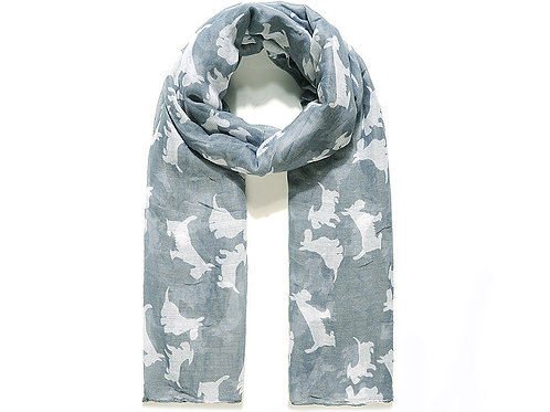 Grey scarf with white Scottie dogs