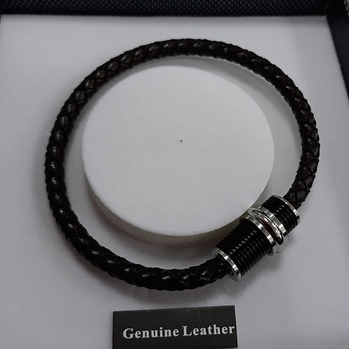 Brown leather mans bracelet
