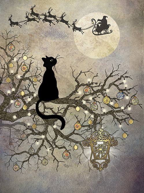 Black cat and moon card