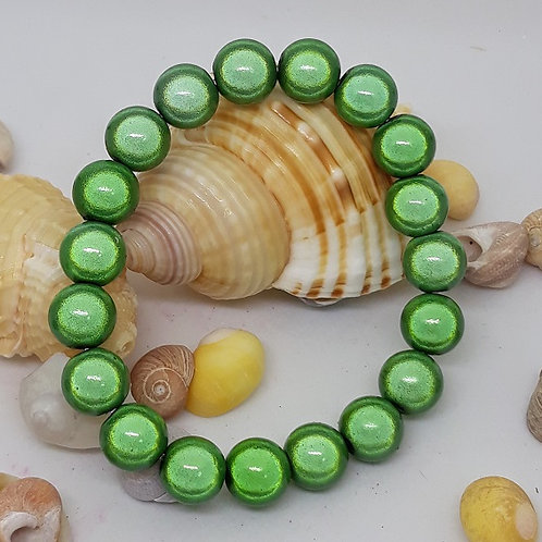 10mm pale green miracle beaded bracelet