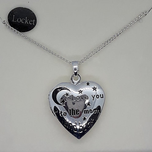Love you to the moon and back heart locket