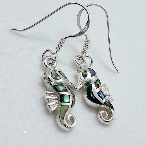 Sterling silver Abalone seahorse earrings