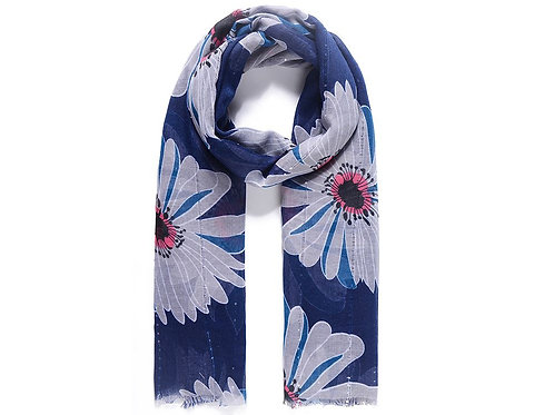 Blue floral print scarf with sparkle