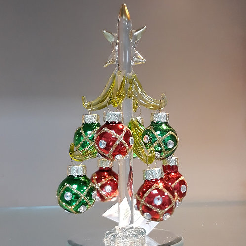 Gold glass Tree with Baubles, small