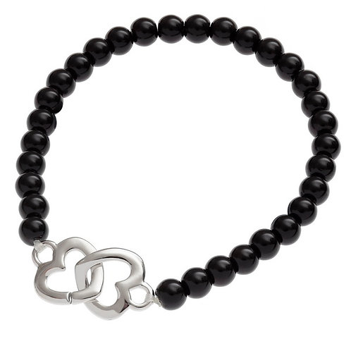 Black beaded bracelet with hearts
