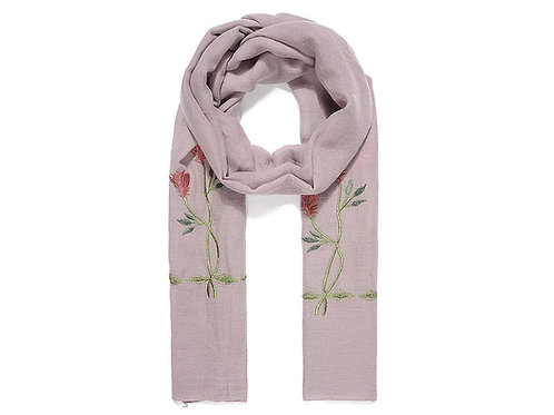 Dusty pink rose embroidered scarf
