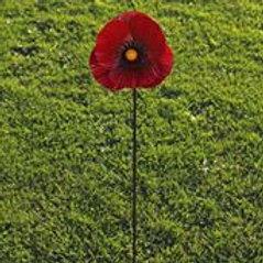 Red metal poppy, garden ornament