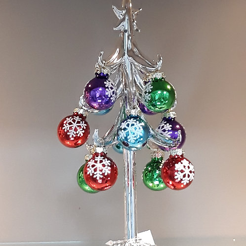 Silver glass Tree with Baubles