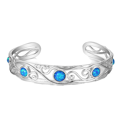 Sterling silver created opal bangle