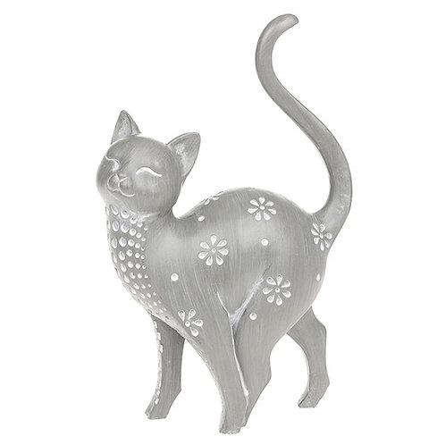 Grey cat ornament Facing left 24cm