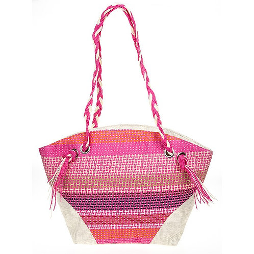 Woven stripes pink tote bag