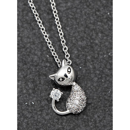 Stylised Pave set cat necklace