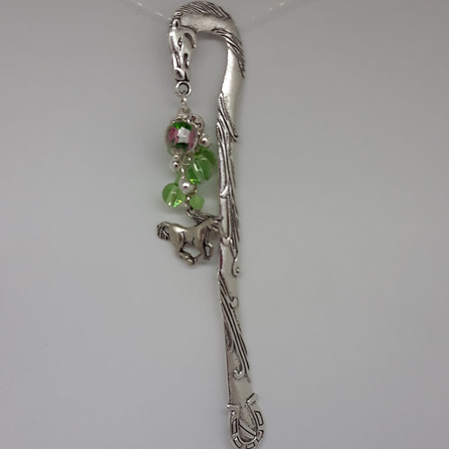 Horse bookmark with charm and green beads