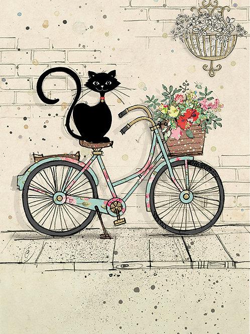Cat on bike card