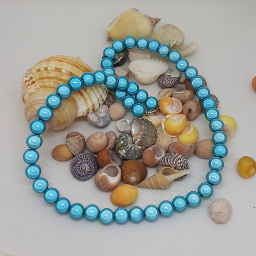Blue miracle bead necklace 16""