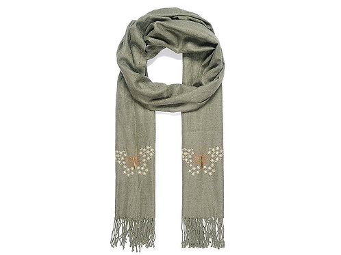 Green scarf with embroidered butterflies