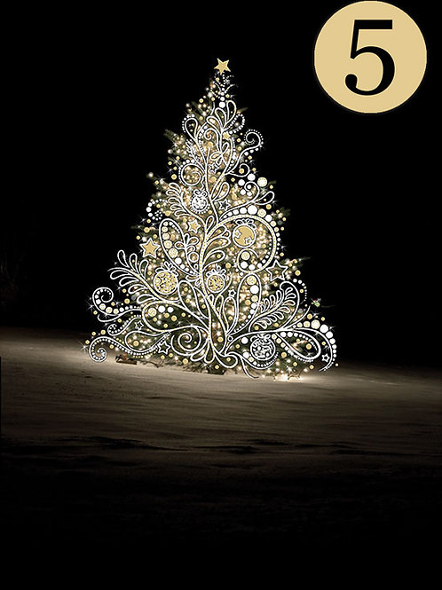 White Christmas tree cards, 5 pack