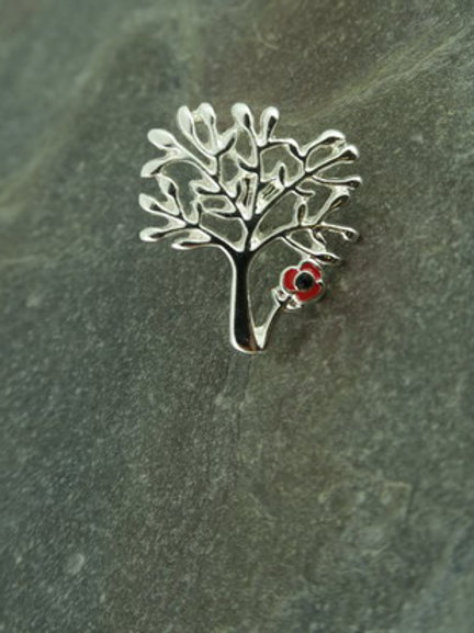 Tree with poppy brooch pin