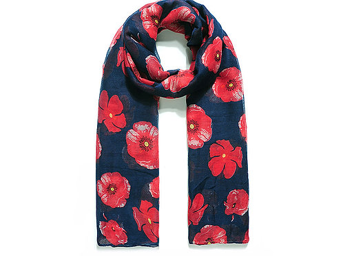Navy Poppy love scarf