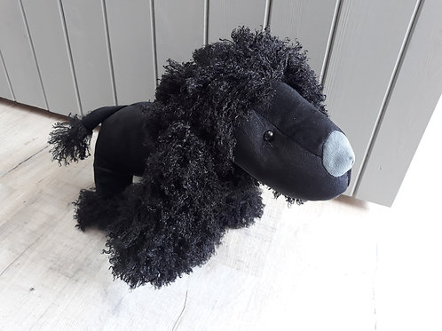 Black poodle doorstop