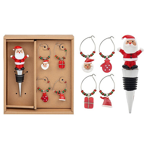 Santa bottle stopper and glass charms