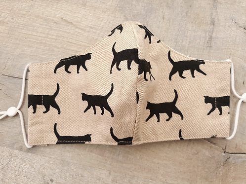 Teenager/adult face mask with black cat fabric