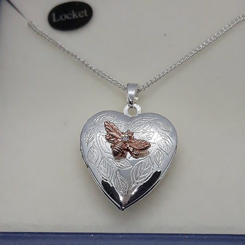 Heart shaped locket with bee