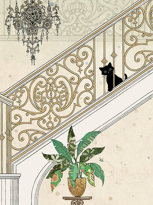 Kitty on stairs card