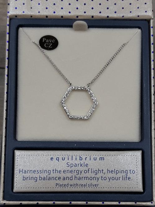 Hexagonal cz set necklace