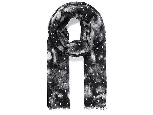 Black silver metallic heart dip dye scarf