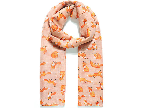 Flash pink Mrs foxy print scarf