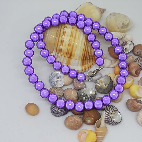 Purple miracle bead necklace 16""