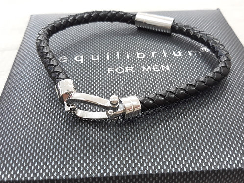 Black leather bracelet with horseshoe