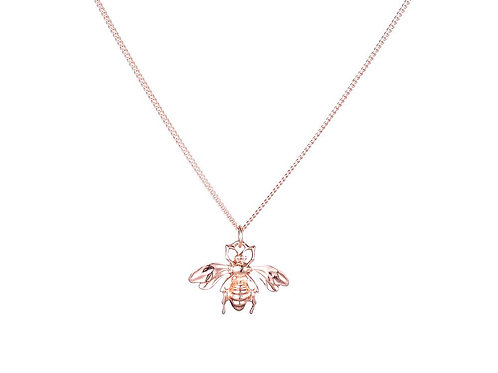 Bee necklace in Rose gold finish