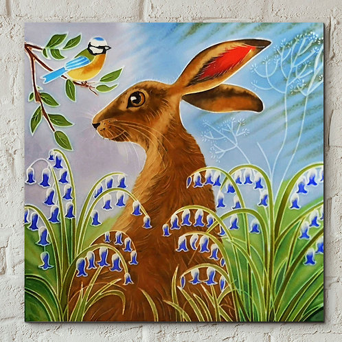 Ceramic Tile, hare and bluetit