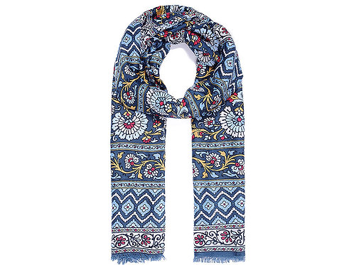 Blue multi coloured floral print scarf