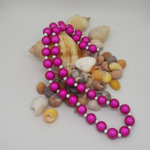 Pink and grey miracle bead necklace