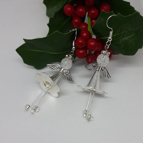 Silver tone long angel drops
