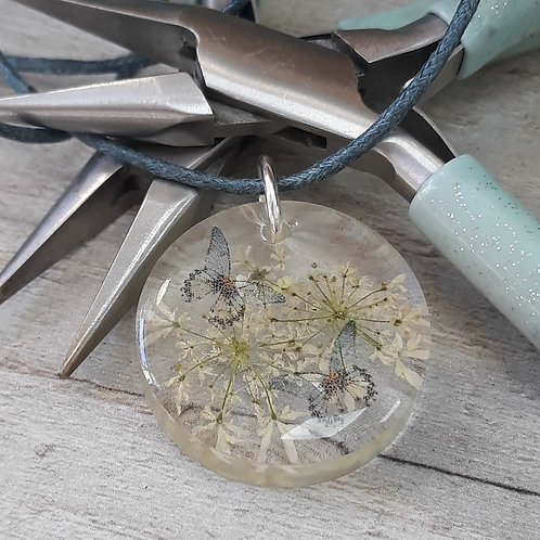 Wild flowers and butterflies necklace