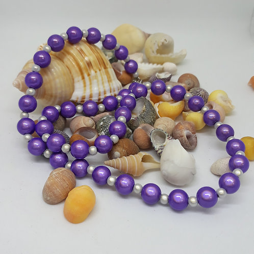 Purple and silver miracle bead necklace