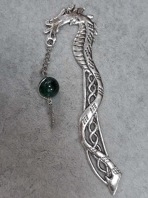 Dragon bookmark with green bead and wing