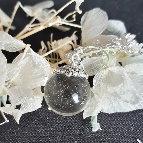 Clear resin pendant with silver sparkles