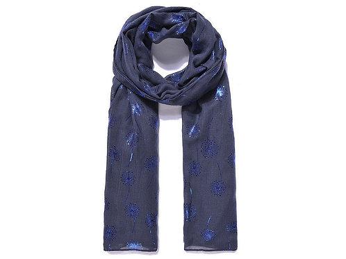 Navy dandelion print scarf