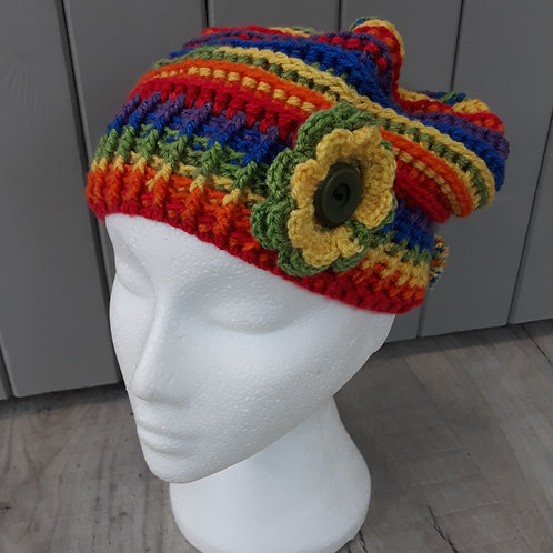 Hand crochet rainbow slouch hat