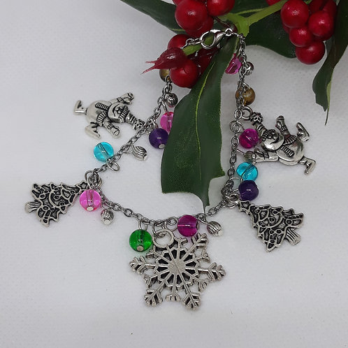 Colourful beaded christmas charm bracelet
