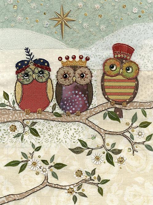 Three wise Owl card