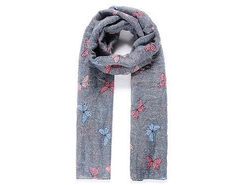 Dark grey butterfly print scarf