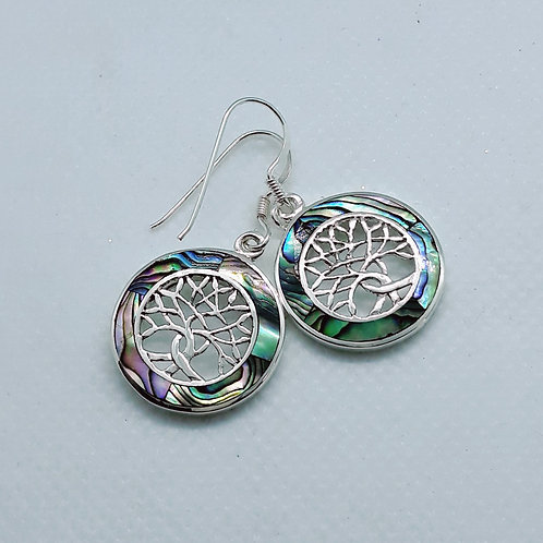 Sterling silver tree of life abalone earrings