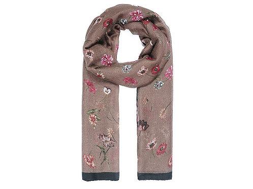 Caramel floral print scarf